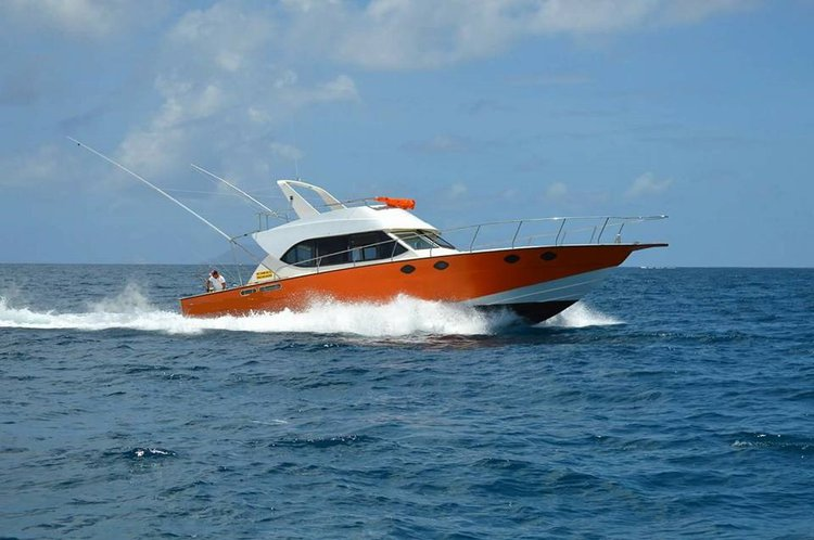 This 55.0' Custom cand take up to 15 passengers around Pereybere