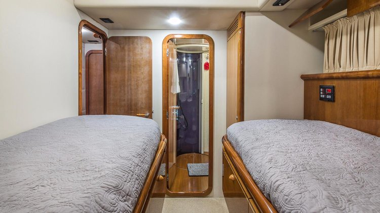 Up to 12 persons can enjoy a ride on this Flybridge boat