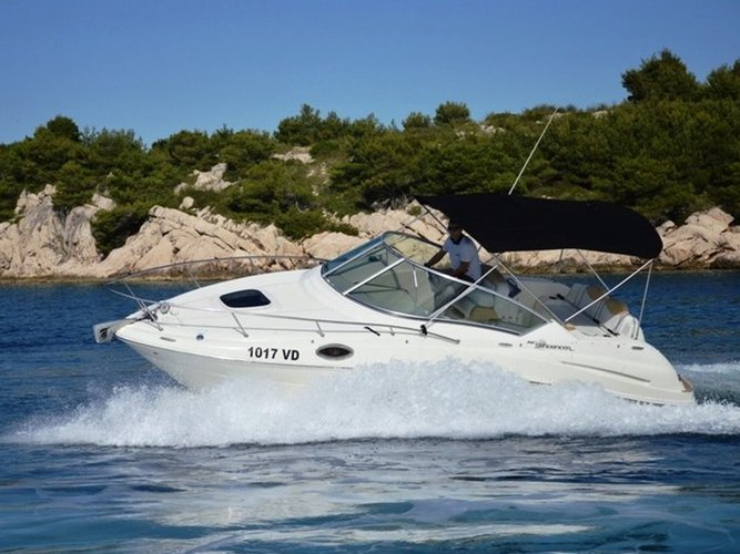 Enjoy luxury and comfort on this Petrčane motor boat charter