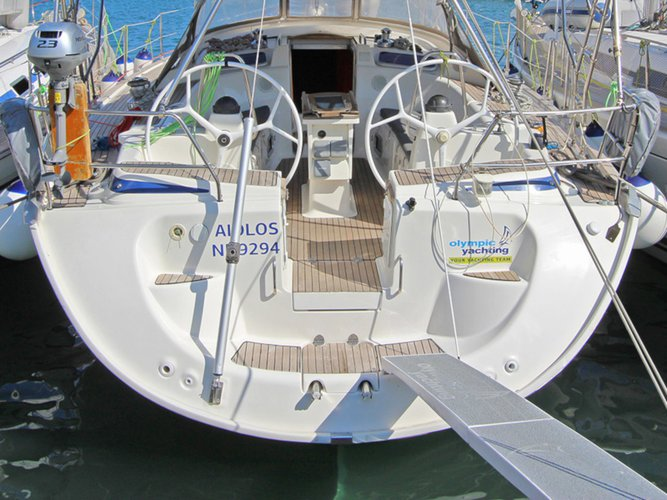 Sail the beautiful waters of Lavrion on this cozy Bavaria Yachtbau Bavaria 46 Cruiser