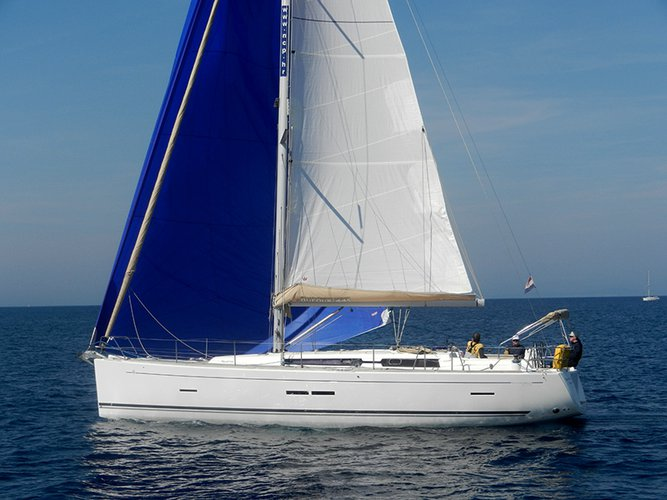 Sail the beautiful waters of Šibenik on this cozy Dufour Yachts Dufour 445 GL