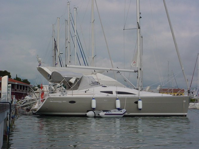 Sail the beautiful waters of Sukošan on this cozy Elan Elan 384 Impression