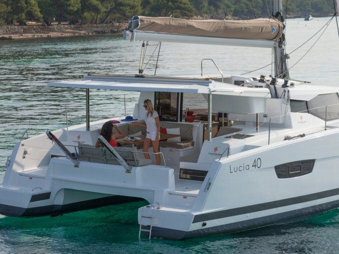 Get on the water and enjoy Capo d'Orlando in style on our Fountaine Pajot Lucia 40
