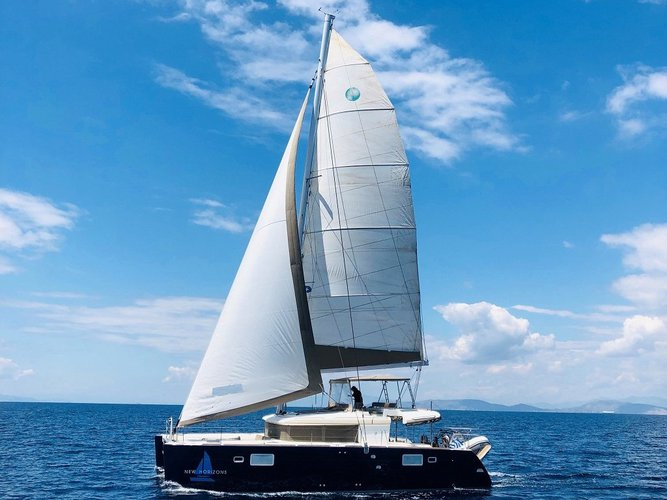 Sail the beautiful waters of Rhodes on this cozy Lagoon Lagoon 450