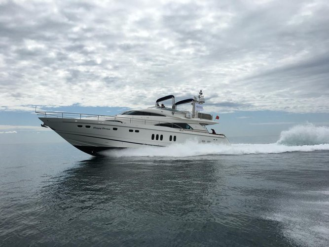 Climb aboard this Fairline Boats Fairline Squadron 74 for an unforgettable experience