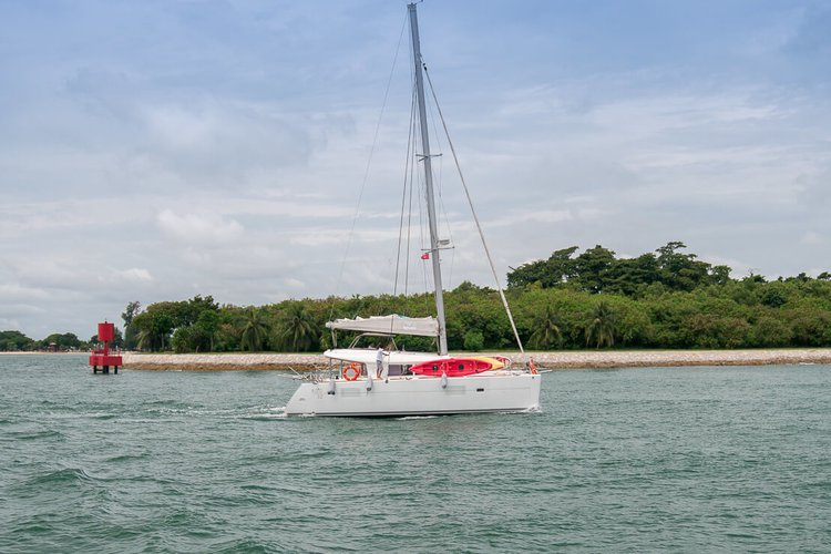 Boating is fun with a Catamaran in Sentosa