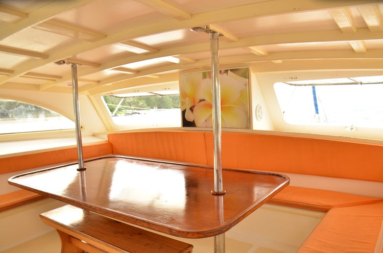Up to 24 persons can enjoy a ride on this Catamaran boat