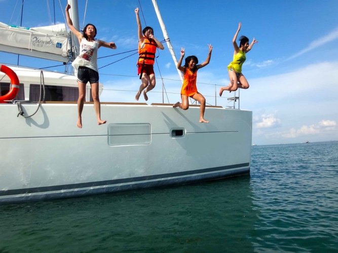 Boating is fun with a Lagoon in Marina Sentosa Cove