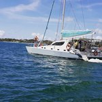 Enjoy luxury and comfort on this Trou d'Eau Douce sailing catamaran