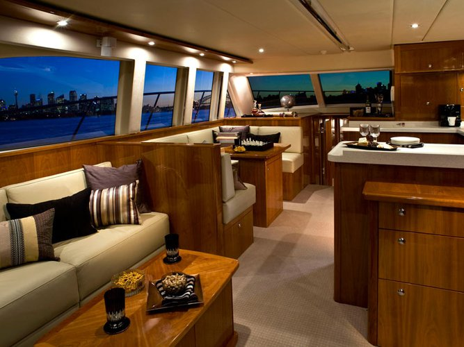 Up to 30 persons can enjoy a ride on this Flybridge boat