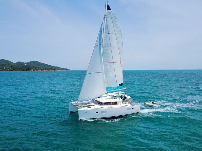 Climb aboard this catamaran for a great experience!