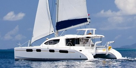Climb aboard this catamaran boat for a great experience!