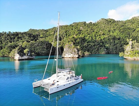 Hop aboard this amazing catamaran rental in Fiji!