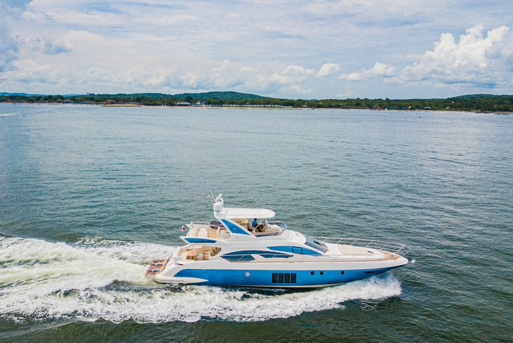 Up to 15 persons can enjoy a ride on this Azimut boat