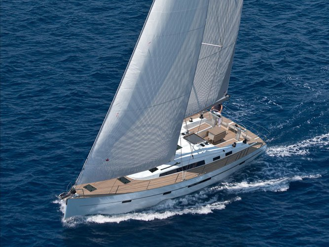 Sail the beautiful waters of Paros on this cozy Bavaria Yachtbau Bavaria Cruiser 56