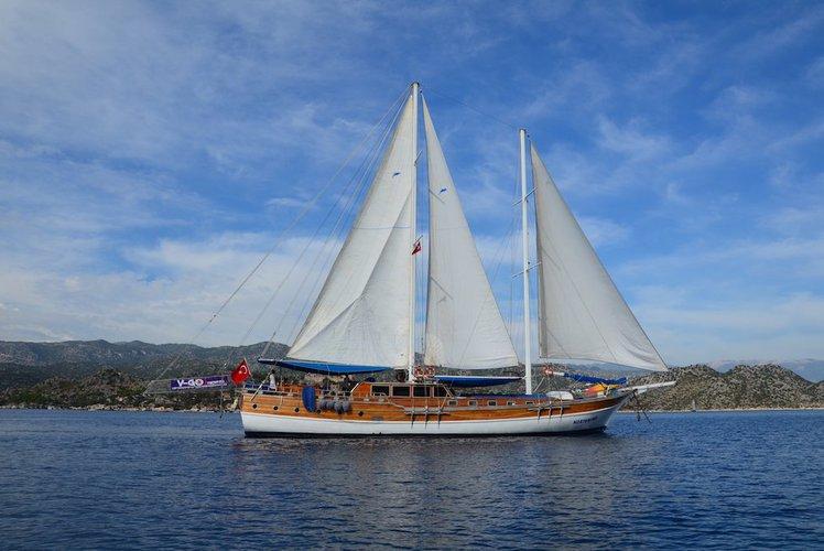 Discover Rhodes surroundings on this Custom Gulet Wodden boat