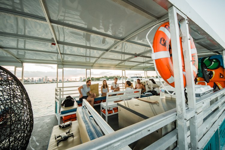 Up to 45 persons can enjoy a ride on this Pontoon boat
