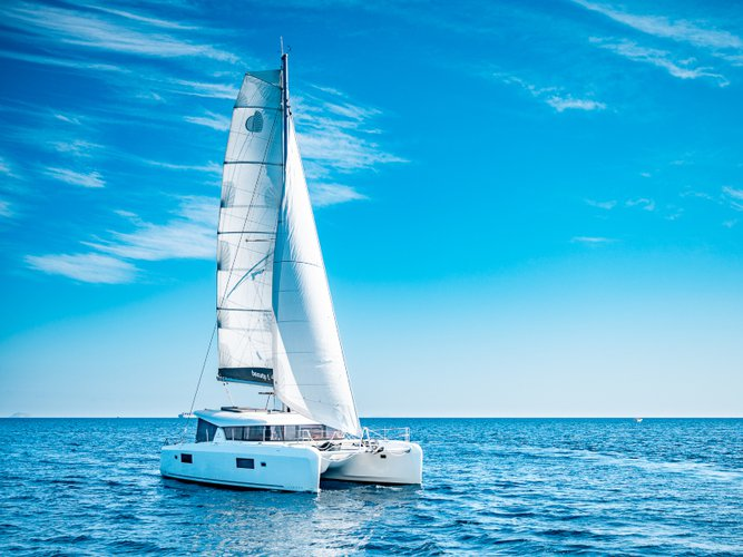 Sail the beautiful waters of Athens on this cozy Lagoon Lagoon 42