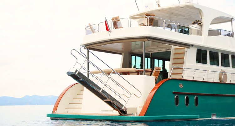 Classic boat rental in Bodrum Marina, Turkey