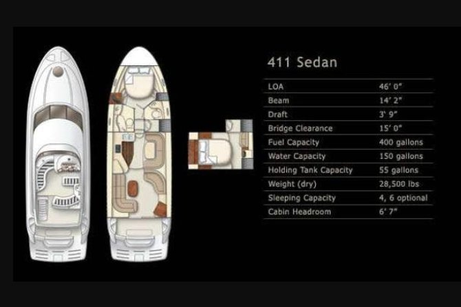 This 42.7' Meridian cand take up to 12 passengers around Miami