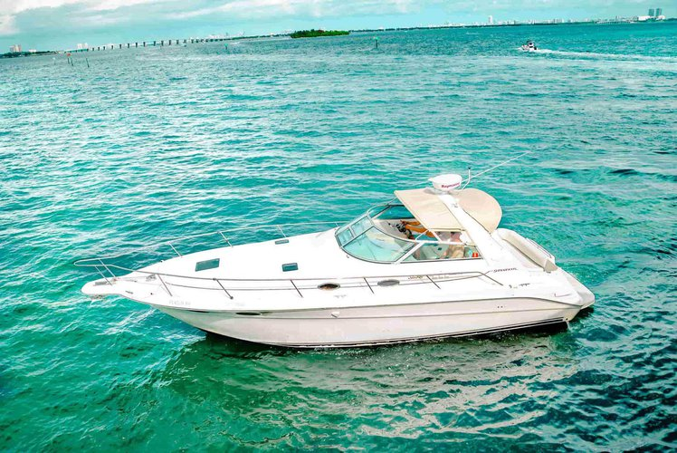 Discover Miami surroundings on this 330 sundancer sea ray boat