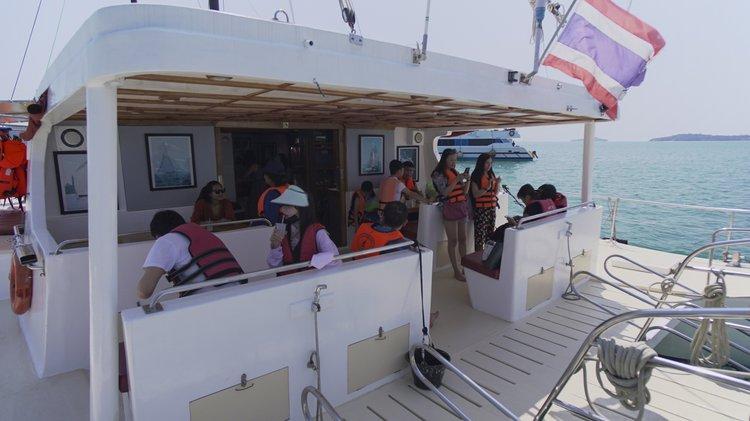 Catamaran boat rental in Chalong Bay, Thailand
