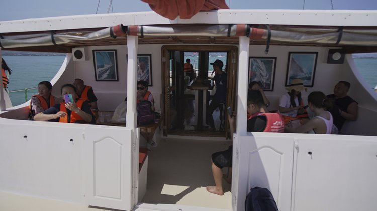 Up to 40 persons can enjoy a ride on this Catamaran boat