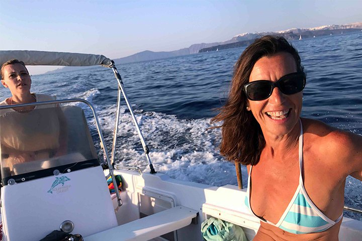 Motor boat boat rental in Vlichada port, Greece
