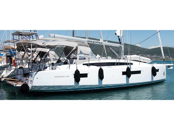 Charter this amazing Jeanneau Sun Odyssey 410 in Lefkada, GR