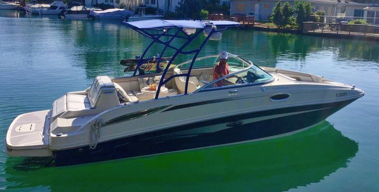 Discover Miami Beach surroundings on this Sun deck SeaRay boat