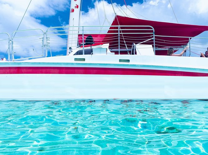 Up to 44 persons can enjoy a ride on this Catamaran boat