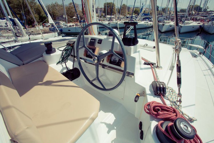 Discover Saronic Gulf surroundings on this Bali 4.0 Catana boat