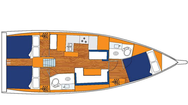 This 40.0' Sunsail cand take up to 8 passengers around Palma de Mallorca