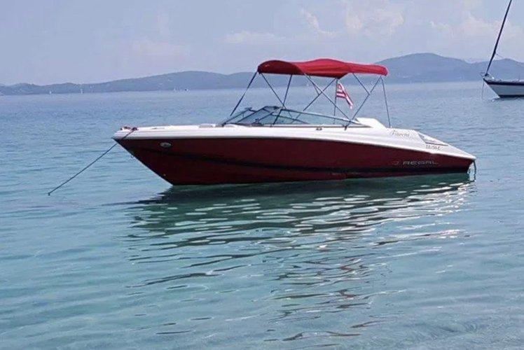 Classic boat rental in Nydri Port, Greece