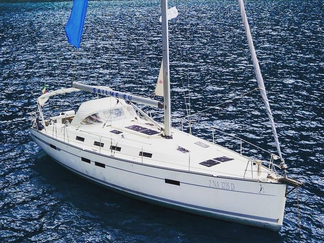 Sail the beautiful waters of Ibiza on this cozy Bavaria Yachtbau Bavaria 45 Cruiser