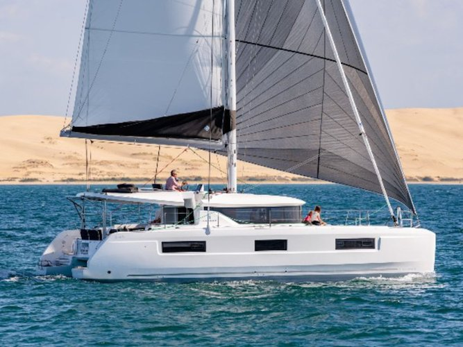 Sail the beautiful waters of Portisco on this cozy Lagoon Lagoon 46