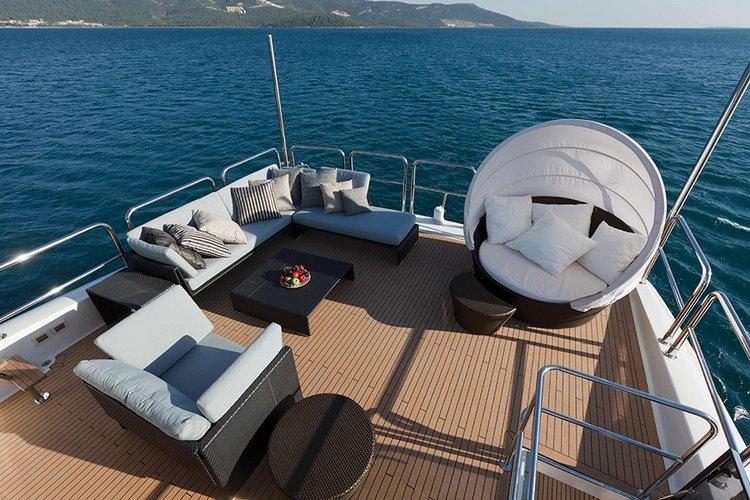 Johnson 87 Luxury yacht fly bridge