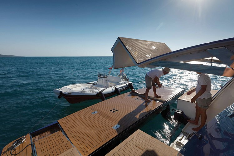 Johnson 87 Luxury yacht garage