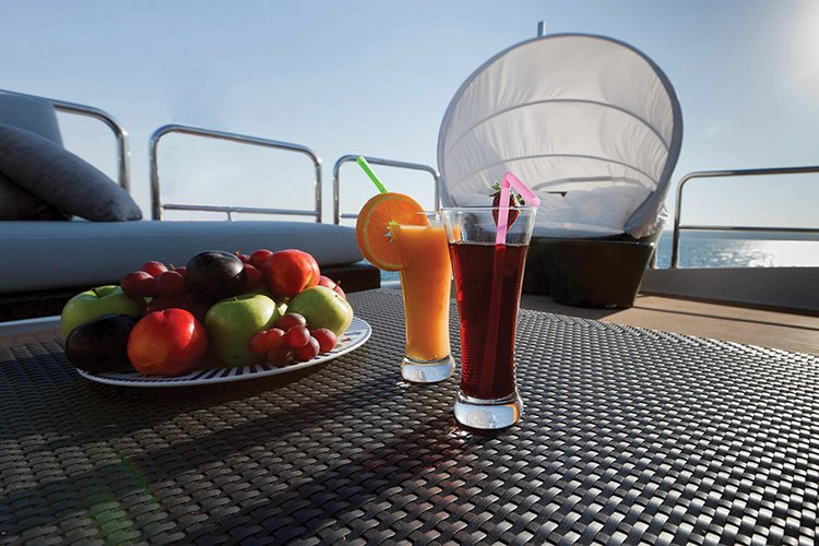 Johnson 87 Luxury yacht fly bridge table