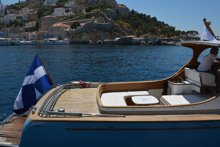 Classic boat rental in Hydra port, Greece
