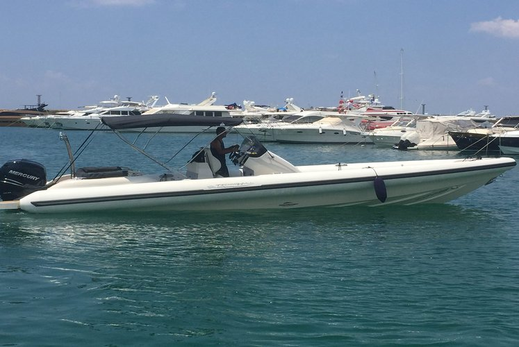 Up to 8 persons can enjoy a ride on this Rigid inflatable boat
