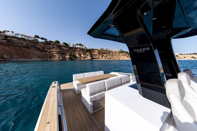 Discover  surroundings on this 38 Pardo boat