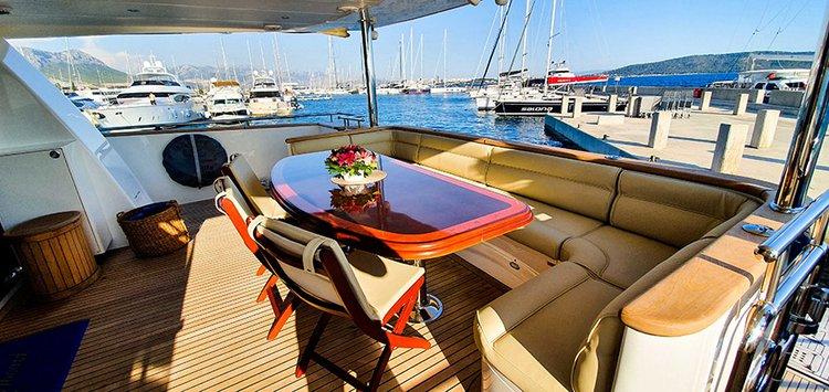 Johnson 87 Luxury yacht cockpit