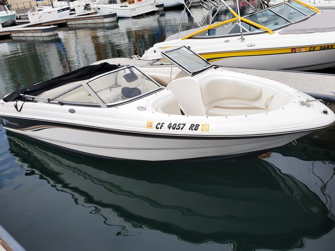 Up to 5 persons can enjoy a ride on this Bow rider boat
