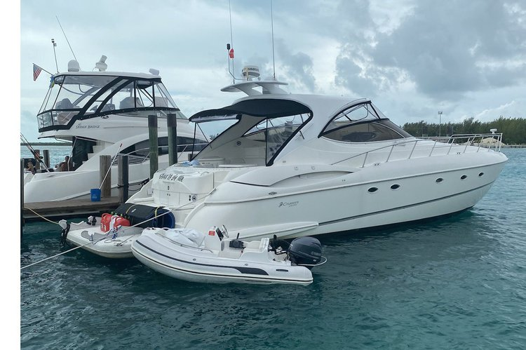 This 58.0' Cruisers Yacht cand take up to 12 passengers around Sunny Isles Beach