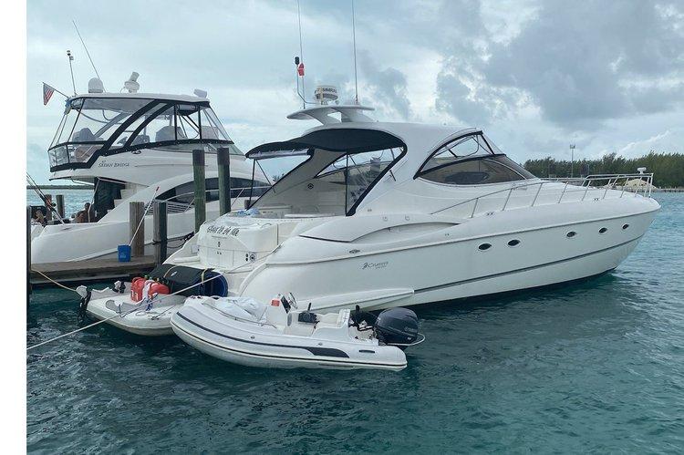This 58.0' Cruisers Yacht cand take up to 12 passengers around Sunny Isles Beach