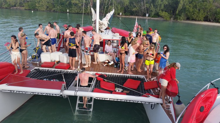 Up to 42 persons can enjoy a ride on this Catamaran boat