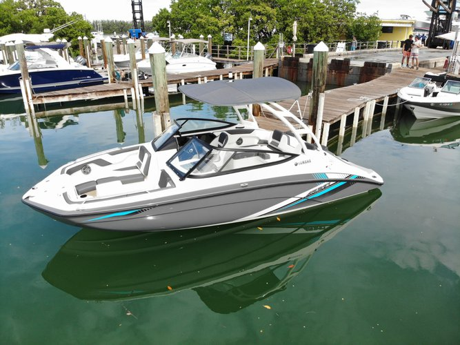 Discover Key Biscayne surroundings on this ar210 yamaha boat