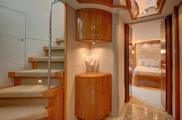 Discover Aventura surroundings on this Flybridge Lazzara boat