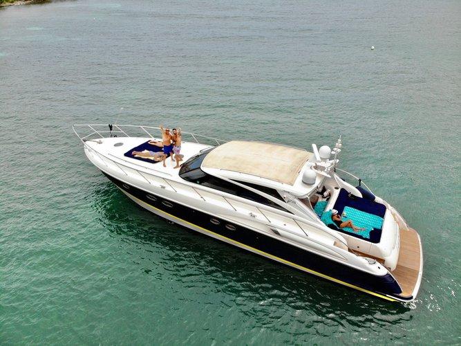 Discover Cruz Bay surroundings on this v58 Princess boat